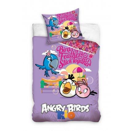 Detské obliečky Angry Birds - Rio fialové